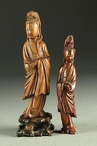 Antique Chinese Qing Finely Carved Box Wood Figure.