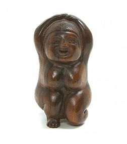 Antique Carved Ebony Netsuke; Okame. Meiji Pd.