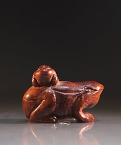 Japanese Carved Wood Netsuke; Toad.