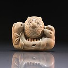 Japanese Carved Ivory Netsuke, Owl.