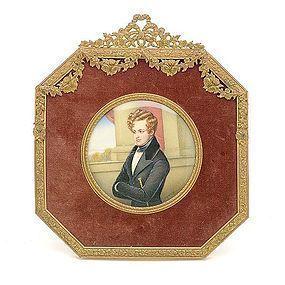19th C. R. Krauss Miniature Portrait Painting.