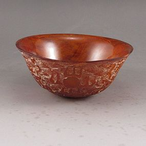 Chinese Hand Carved Ox Horn Bowl; Dragon.