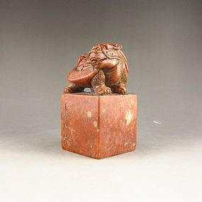Large Chinese Shoushan Stone Seal; Dragon Turtle.