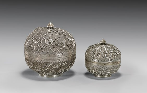 TWO ANTIQUE SILVER MELON-FORM BOXES