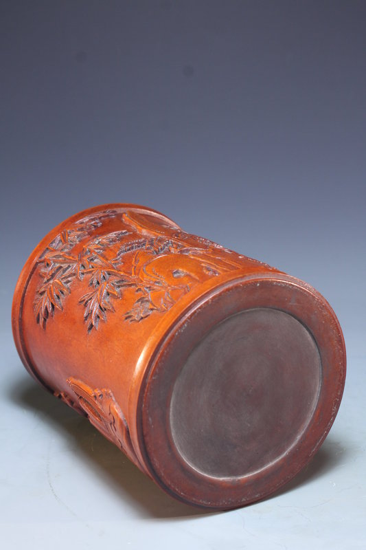 Beautiful Chinese Carved Huangyang Wood Brush Pot.