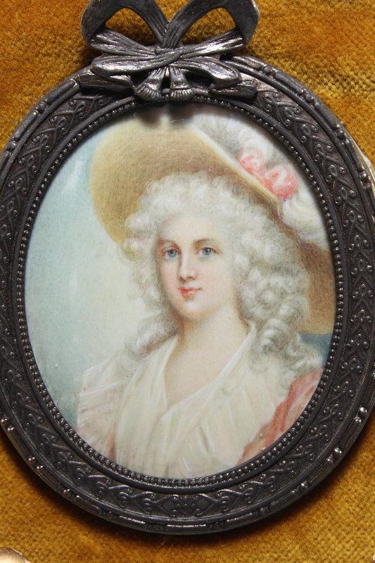 Continental Miniature portrait Painting, 19th C.