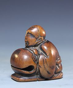 Japanese Carved Wood Netsuke; Peach. Edo Pd.