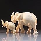 Fine Japanese Carved Ivory Figures, Elephants.