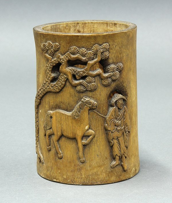 19th C. Chinese Bamboo Brush Pot.