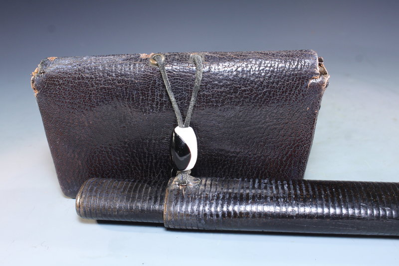 19th C. Japanese Leather Tobacco Pouch.