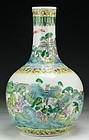 Antique Chinese Famille Rose Enameled Porcelain Vase.