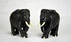 19th C. Pair of Carved Wood Elephants.
