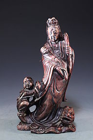 Chinese Carved Shoushan Figure; Guanyin & Dragon.