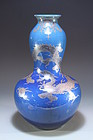 Chinese Double Gourd Powder Blue Porcelain Vase.
