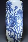 Antique Chinese Blue & White Porcelain Rolo Vas.