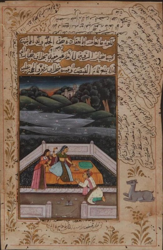 Fine Indo/Persian Hand Painted Manuscript Page.