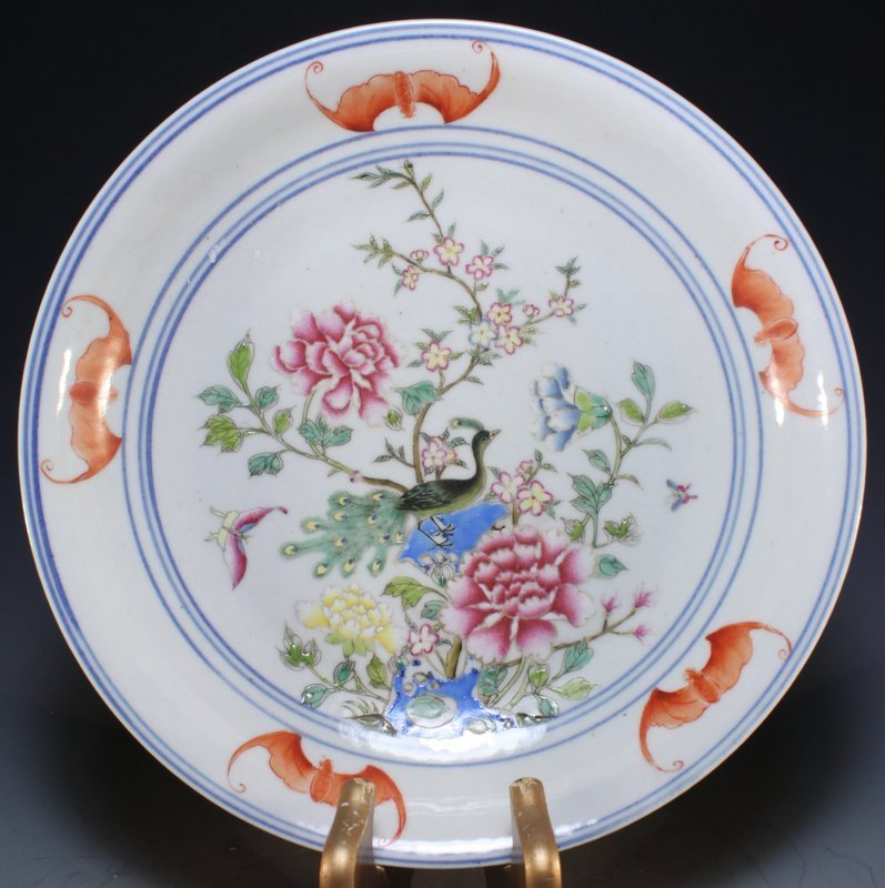 Antique Chinese Famille Rose Enameled Porcelain Plate.