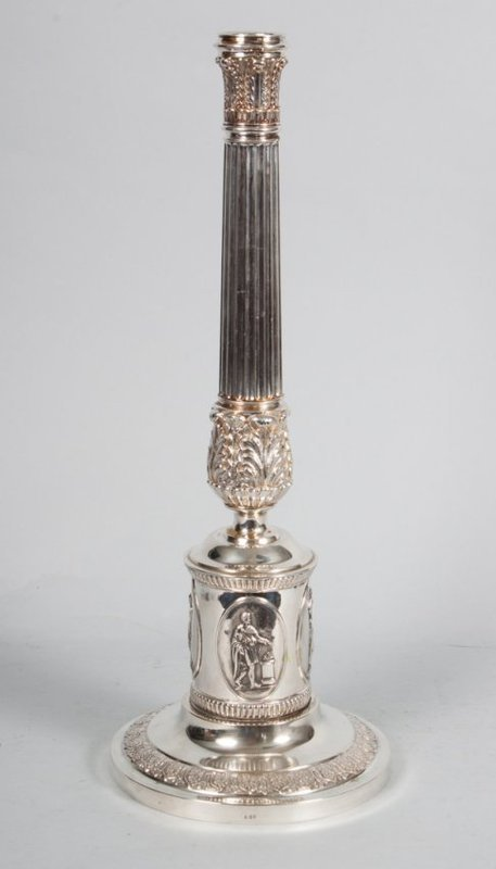 Neoclassical Style Sterling Silver Candlestick.