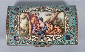 Italian Rococo Style Enamel & Gilt Silver Compact.