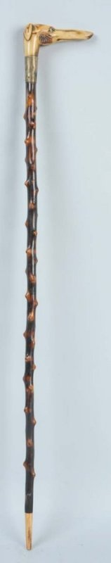 Superb Carved Stag Handled Greyhound Cane.