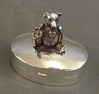 Fine Sterling Silver Pill Box; Articulated Bear