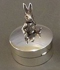 Fine Sterling Silver Pill Box; Articulated Rabbit.