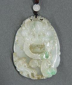 Fine Chinese Jadeite Pendant; Dragon.