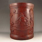 Chinese Zitan Wood Brush Pot.