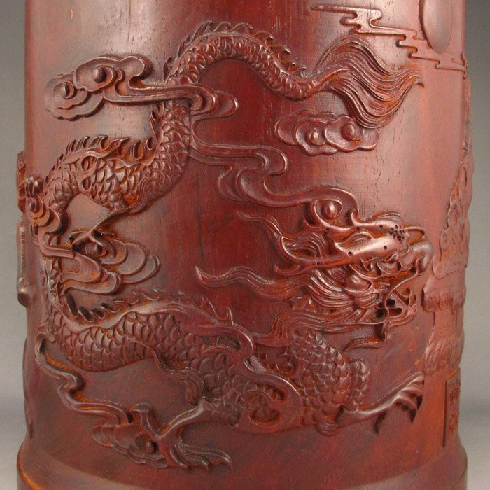 Chinese Zitan Wood Brush Pot.