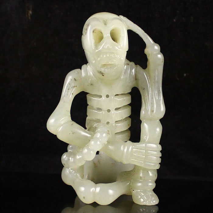 Fine Chinese Hetian Jade Carving; Skeleton.