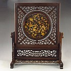 Hand Carved Natural Sandalwood Inlay Dia Mao Screen.