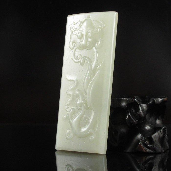 Superb Chinese Hetian Jade Pendant; Beast & Dragon