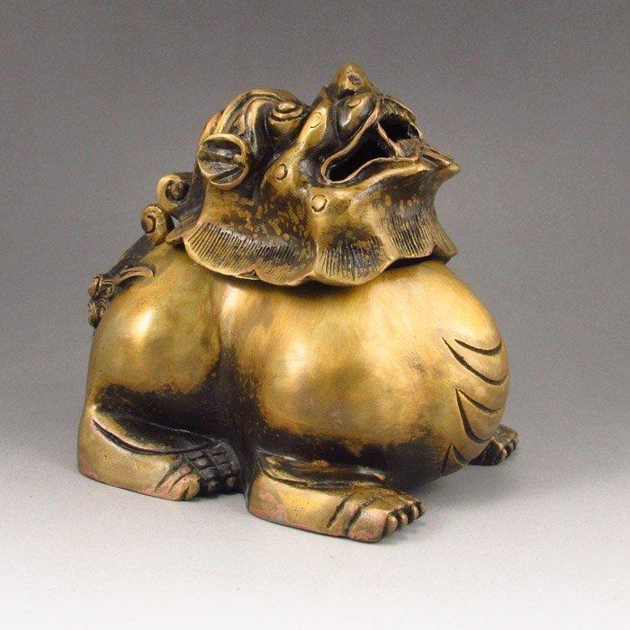Chinese Bronze Lion Shape Censer/Incense Burner.