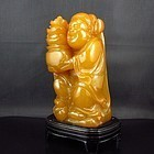 Chinese Natural Shoushan Stone Carving; Fortune Kid.