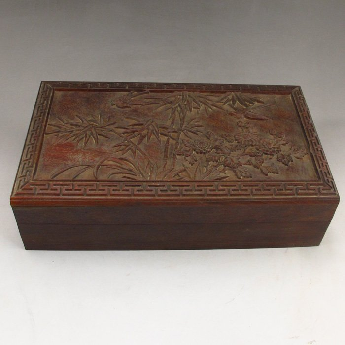 Chinese Carved Sanders Wood Box.