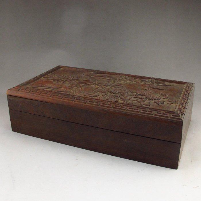 Chinese Carved Sanders Wood Box.