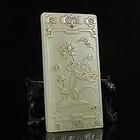 Chinese Natural Hetian Jade Pendant; Lotus Flower.