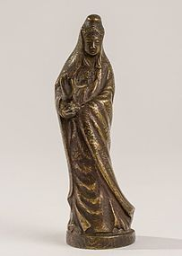 Chinese Bronze Buddhist Figure of Kwan Yin Mudra.