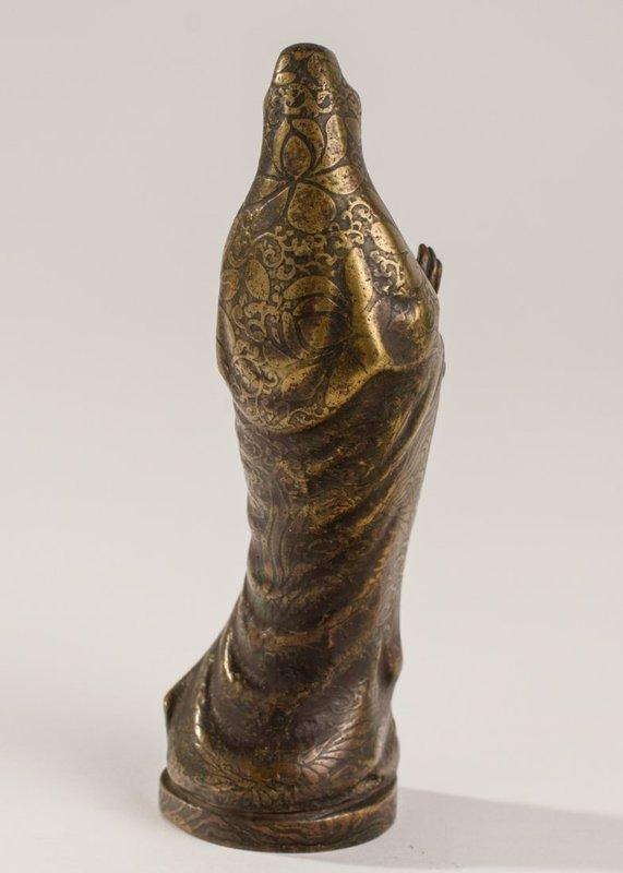 Chinese Bronze Buddhist Figure of Kwan Yin Mudra.