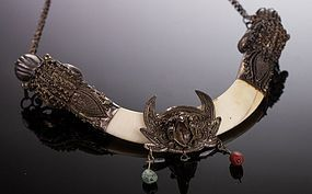 19 C. Indo/Tibetan Silver Dragon Boar Tusk Necklace.