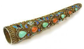 Antique Chinese Silver Cloisonne Nail Guard Pin/Brooch.