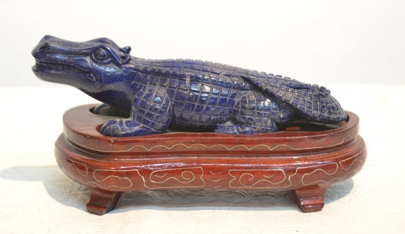 Fine Chinese Carved Lapis Alligator on Stand.