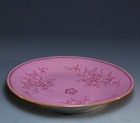 19th C. Chinese Pink Sgraffito enameled Porcelain Plate.