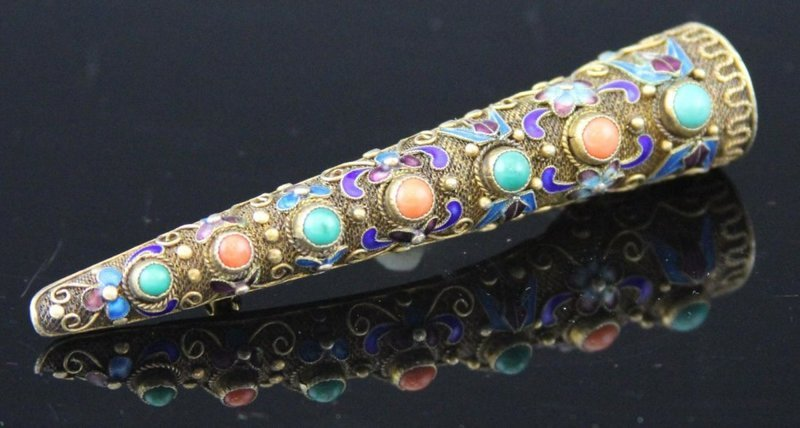 Chinese Silver Cloisonne Nail Guard Pin/Brooch.