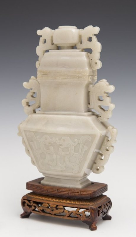 Chinese Carved Grayish-White Jade Covered Urn.