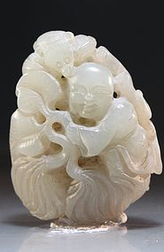 Antique Chinese Carved Jade Pendant.