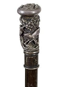 19th C. Elk Hunting Silver Cane