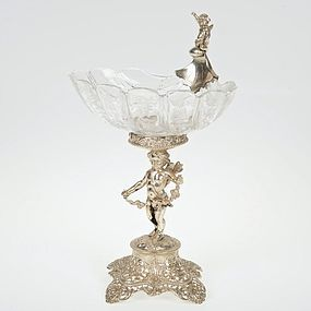 Continental .800 Silver and Etched Crystal Compote.