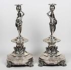 Superb Pair of 19th C. Austrian Silver Figural Candlesticks.