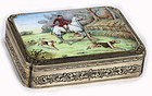 Elaborately Engraved Silver & Enamel Painting Box.